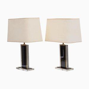Schwarze und klare französische Tischlampen aus Plexiglas & Messing, 1970er, 2er Set