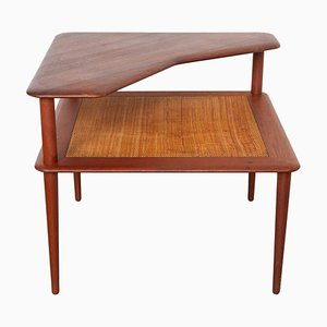 Danish Coffee Corner Table in Teak and Cane by Peter Hvidt for France & Daverkosen, 1950s