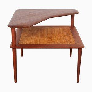 Table Basse en Teck et Jonc par Peter Hvidt pour France & Daverkosen, Danemark, 1950s