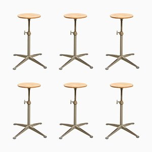 Adjustable Architect Stools by Friso Kramer for Ahrend De Cirkel, 1950s, Set of 6