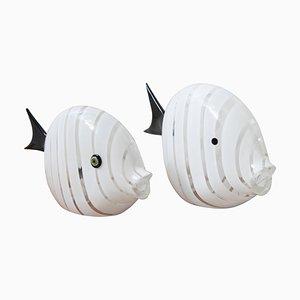 Große italienische Murano Fisch Tischlampen, 1970er, 2er Set