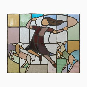 Dutch Window in Stained Glass with Jump Rope Playing Girl from Atelier Mengelberg, 1930s