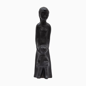 Belgian Black Ceramic Sculpture of Mother and Child by Elie Van Damme for Amphora Ceramics, 1960s