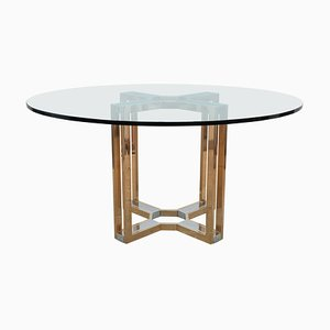 Gold and Chrome Round Glass Top Centre Table by Romeo Rega, 1970s