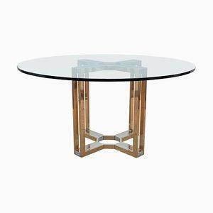 Runder Tisch aus Gold und Chrom von Romeo Rega, 1970er
