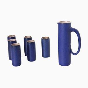 Keramik Krug und 6 Tassen mit blauer Glasur von Kasper Würtz, 1970er, 7er Set