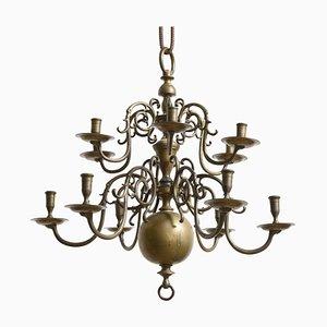 Antiker niederländischer Kronleuchter aus Bronze mit zwölf Armen und Kerzenhalter