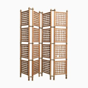 Danish Walnut 4-Panel Room Divider, 1950s