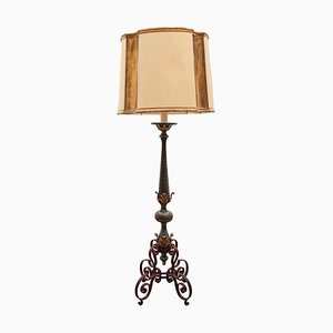 French Art Deco Wrought Iron Lacquered and Gilt Leaf Floor Lamp by Gilbert Poillerat, 1930s