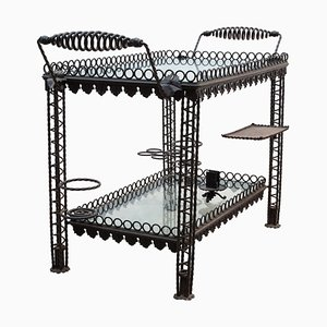 Brutalist French Wrought Iron Bar Cart, 1950s