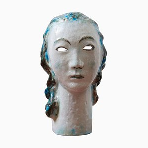 Ceramic Girl with Blue Hair Portrait by Erwin Spuler for Majolica Manufactory of Karlsruhe, 1930s