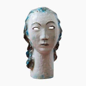 Keramik Mädchen mit blauem Haar Portrait von Erwin Spuler für Majolica Manufaktur of Karlsruhe, 1930er