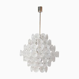 Murano Ice Glass Vistosi Disc Chandelier, 1960s