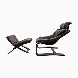 Schwedischer Schwarzer Freischwinger Sessel und Fußhocker von Ake Fribytter für Nelo, 1973