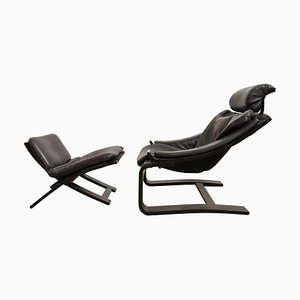 Swedish Black Cantilever Lounge Chair and Footstool by Ake Fribytter for Nelo, 1973