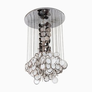 Large Italian Opal Glass and Chrome Disc Chandelier from Vistosi, 1960s