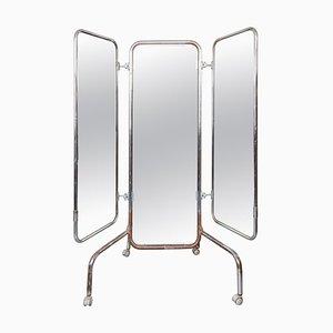 German Floor Mirror on Casters, 1930s