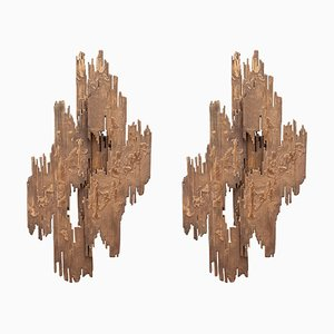 Brutalist Bronze Sculptural Sconces, 1970s, Set of 2
