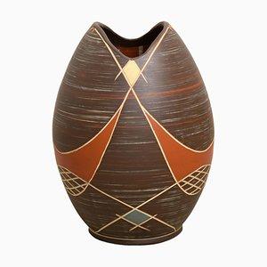 Große Deutsche Braune Ikra Keramikvase, 1950er