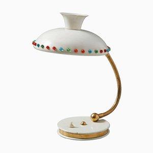 Italienische Dreifarbige Glas Tischlampe, 1950er