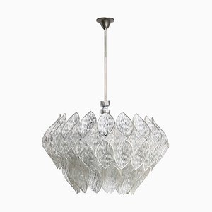 Mid-Century Clear Iced Glass and Lucite 2-Tier Chandelier, 1960s