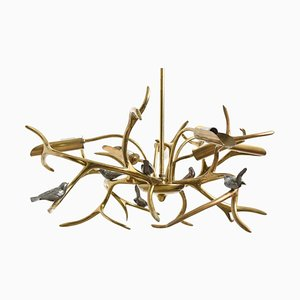 Belgian Bronze Tree Sculpture Six Birds Chandelier by Willy Daro, 1970s