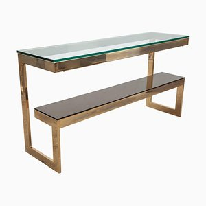 Gold Plated and Glass Dewulf Selection Console Table from Belgo Chrome, 1970s