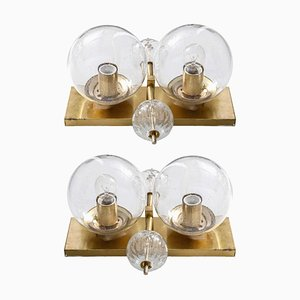 Clear Globe Wall Lights, 1970s, Set of 2