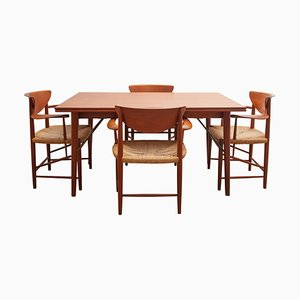 Mid-Century Dining Table & Chairs Set by Peter Hvidt & Orla Mølgaard-Nielsen for Soborg Mobelfabrik, 1956, Set of 5