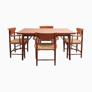 Set Table et Chaises Mid-Century par Peter Hvidt & Orla Mølgaard-Nielsen pour Soborg Mobelfabrik, 1956, Set de 5
