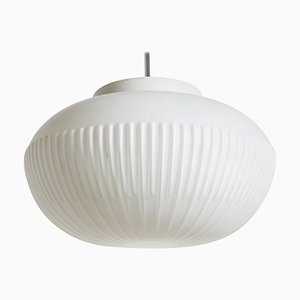 Danish White Opaline Glass Pendant Lamp from Fog & Mørup, 1954