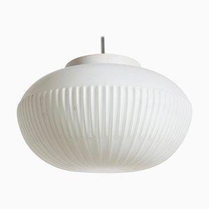 Lampe à Suspension en Verre Opalin Blanc de Fog & Mørup, Danemark, 1954