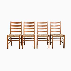Solid Pinewood Rush Seat Dining Chairs, 1950s, Set of 4