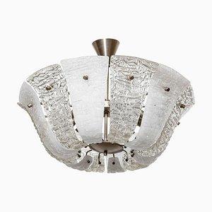 Großer Strukturierter Eisglas Kronleuchter von Kalmar, 1950er