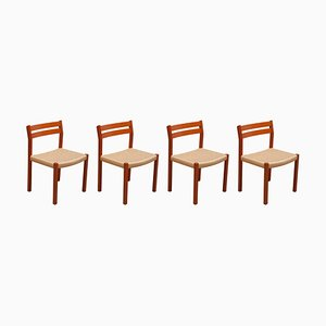 Mid-Century Paper Cord Dining Chairs by Jorgen Moller for Henrik Moller, 1970s, Set of 4