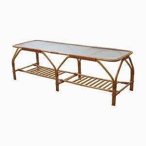 Grande Table Basse Rectangulaire en Bambou et Verre Givré par Viggo Boesen, 1950s