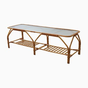 Large Bamboo and Frosted Glass Rectangular Coffee Table by Viggo Boesen, 1950s