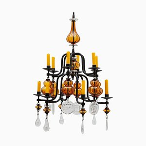 Swedish Brutalist 12-Arm Chandelier by Erik Hoglund for Boda, 1950s