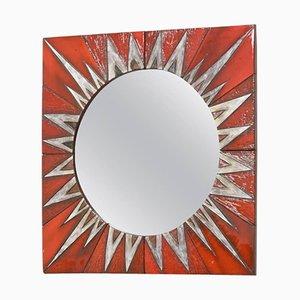 Miroir Sunburst en Céramique par Oswald Tieberghien, 1960s