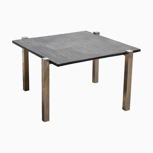 Table Basse Carrée en Chrome avec Plateau en Ardoise Noire, 1960s