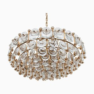 Large German Crystal and Gilt Chandelier from Palwa, 1970s
