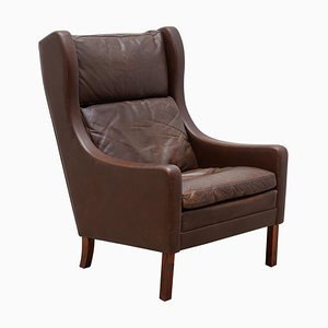 Danish Brown Leather Model 2331 Easy High Back Armchair by Børge Morgensen, 1960s