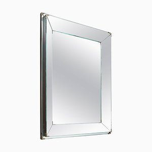 French Art Deco Rectangular Mirror with Two-Banded and Edged Mirror Frame, 1920s
