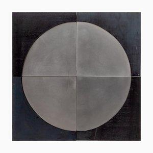 Sculpture Murale Brutaliste Contrastant Noir & Argent, 1960s, Set de 4