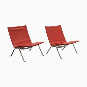 Dänische Oxblood Leder PK 22 Sessel von Poul Kjærholm, 1960er, 2er Set