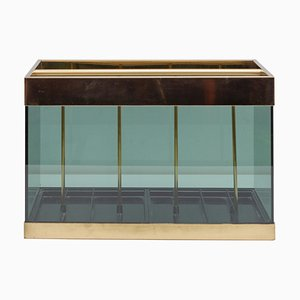 Brass and Smoked Glass Magazine Rack from MB Italia, 1976