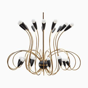 Large German Modernist Black Spider 24-Light Chandelier, 1958