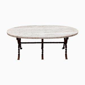 Tavolino da caffè brutalista in ferro battuto con ripiano in travertino, anni '60