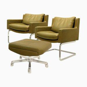 Executive Armchair & Stool by Robert Haussmann for de Sede, 1960s, Set of 2