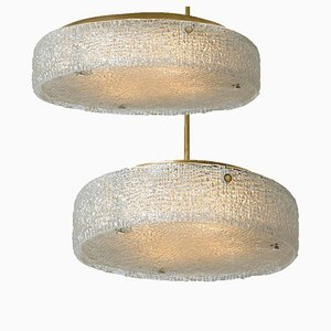 Thick Textured Glass Flush Mount Ceiling Lights by Doria Leuchten Germany, 1960s, Set of 2